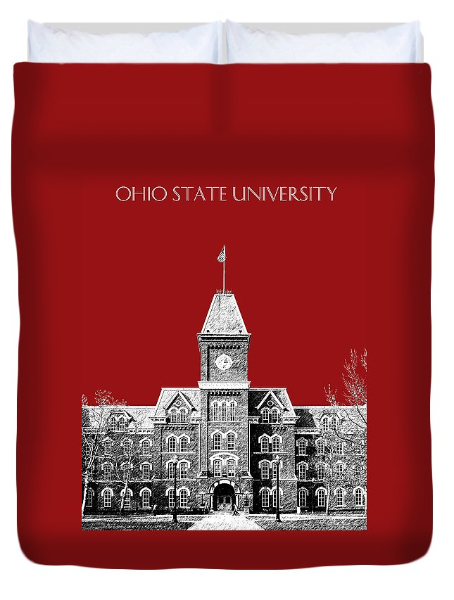 University Duvet Cover featuring the digital art Ohio State University - Dark Red by DB Artist