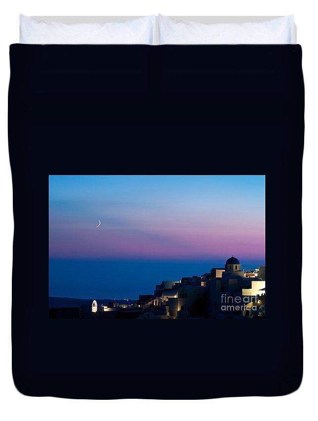 Aegean Duvet Cover featuring the photograph Oia Of Santorini by Kim Pin Tan