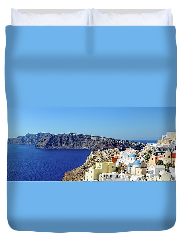 Scenics Duvet Cover featuring the photograph Oia Panoramic, Santorini, Greece by Chrishepburn