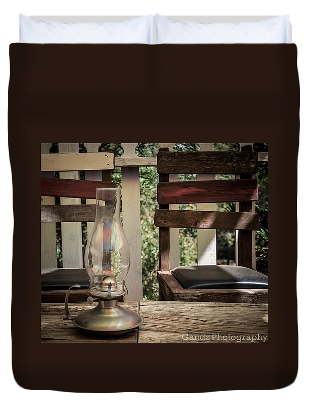 Oil Lamp Duvet Cover featuring the digital art Oil Lamp 2 by Gandz Photography
