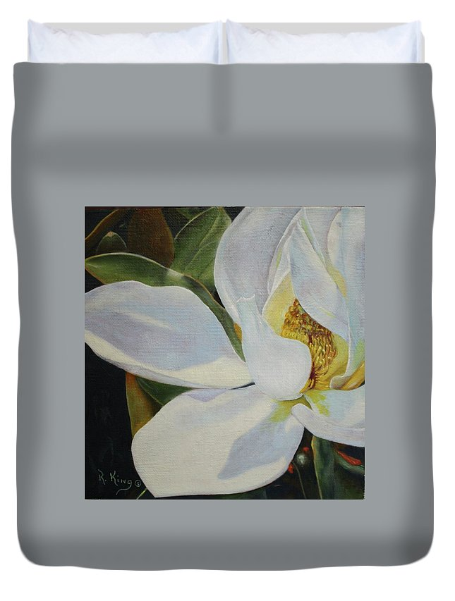 Roena King Duvet Cover featuring the painting Oil Painting - Sydney's Magnolia by Roena King