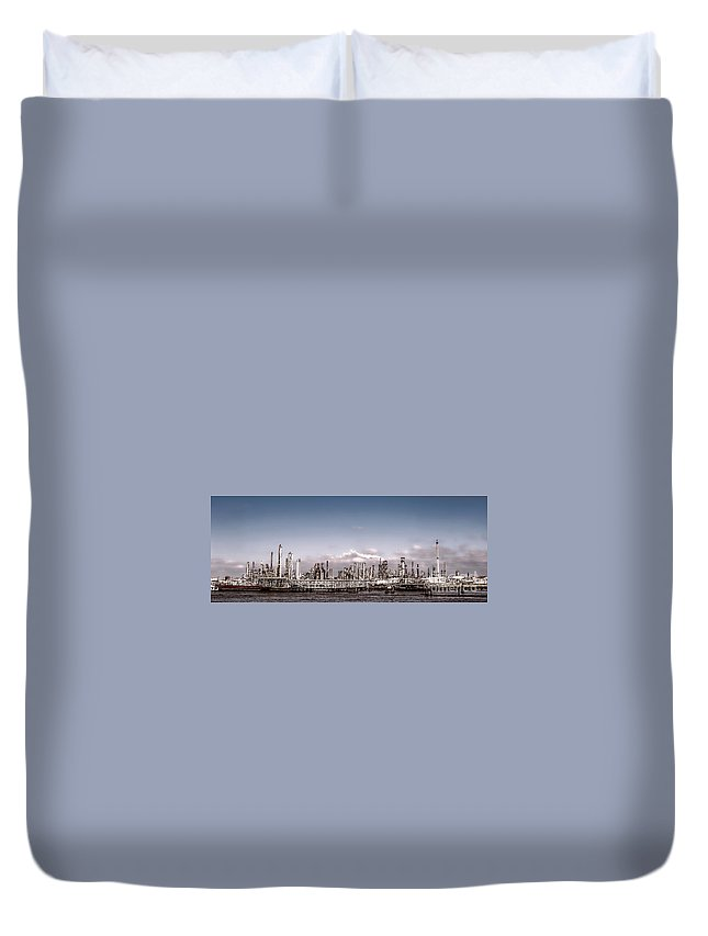 Oil Duvet Cover featuring the photograph Oil Refinery by Olivier Le Queinec