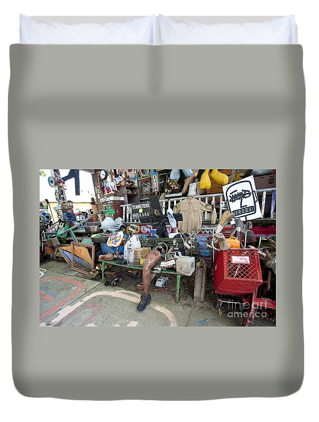 Heidelberg Project Duvet Cover featuring the photograph Oj House Detail 2 by Steven Dunn