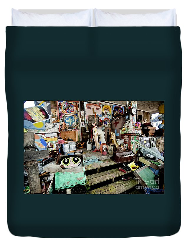 Heidelberg Project Duvet Cover featuring the photograph Oj House Detail 3 by Steven Dunn