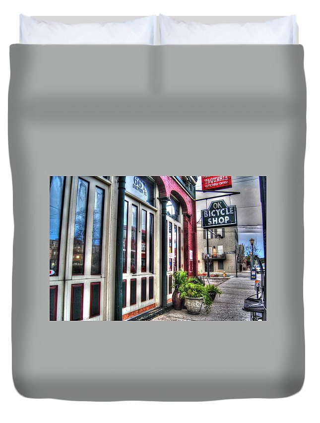 Alabama Duvet Cover featuring the digital art Ok Bike From Left by Michael Thomas