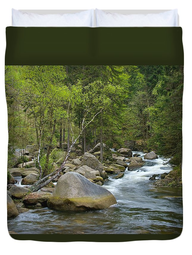 Wald Duvet Cover featuring the pyrography Okertal by Steffen Gierok