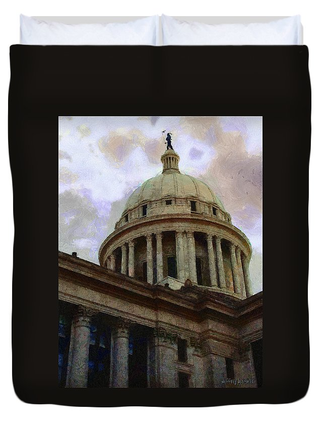 Architecture Duvet Cover featuring the painting Oklahoma Capital by Jeffrey Kolker