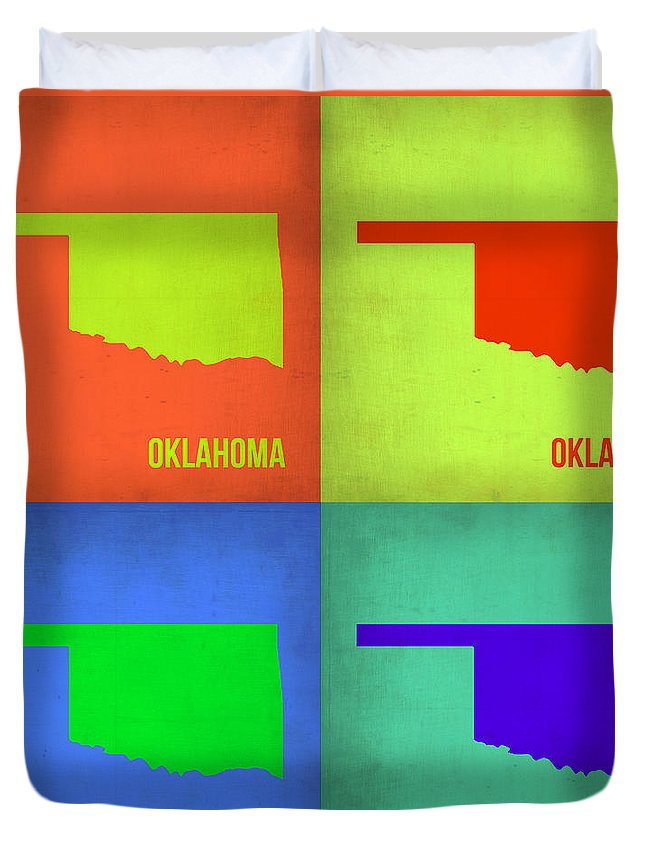 Oklahoma Map Duvet Cover featuring the painting Oklahoma Pop Art Map 1 by Naxart Studio