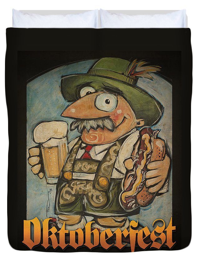 Oktoberfest Duvet Cover featuring the painting Oktoberfest Guy Poster by Tim Nyberg