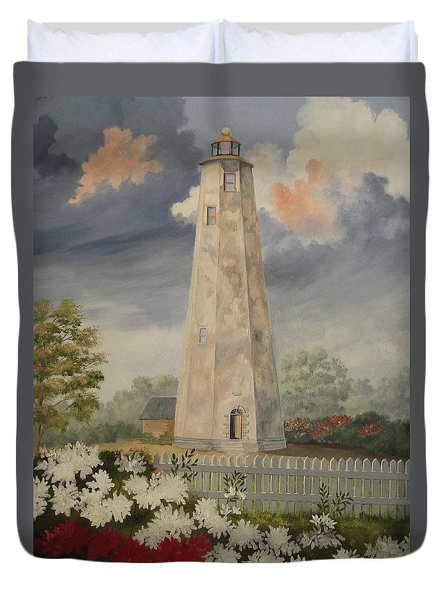 Lighthouse Duvet Cover featuring the painting Old Baldy Lighthouse by Wanda Dansereau