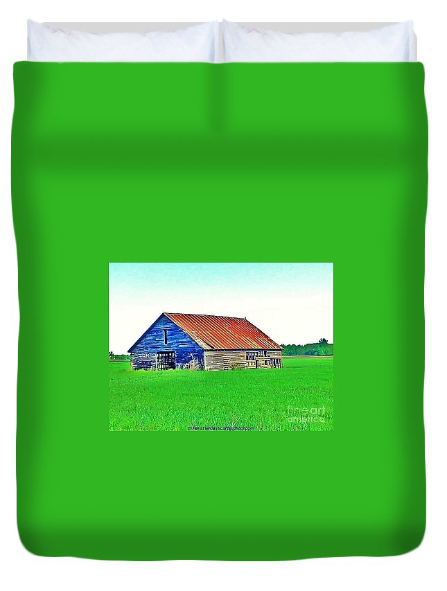 Old Barn Photo Duvet Cover featuring the photograph Old Barn On Treaty Road Oakhill Kansas by PainterArtist FIN