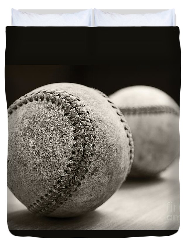 Ball; Sport; Baseball; Leather; Stitches; Red; White; Closeup; Used; Old; Vintage; Antique; Old Baseballs Duvet Cover featuring the photograph Old Baseballs by Edward Fielding