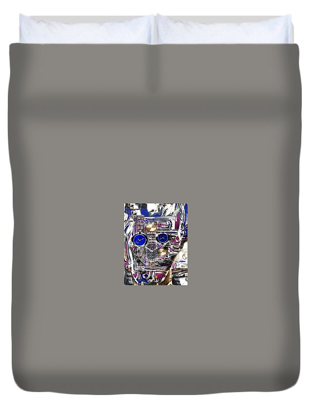 Robotic Time Traveller Duvet Cover featuring the digital art Old Blue Eyes by Seth Weaver