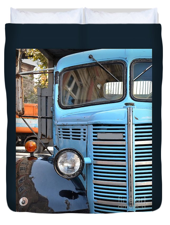 Truck Duvet Cover featuring the photograph Old Blue Jalopy Truck by Imran Ahmed