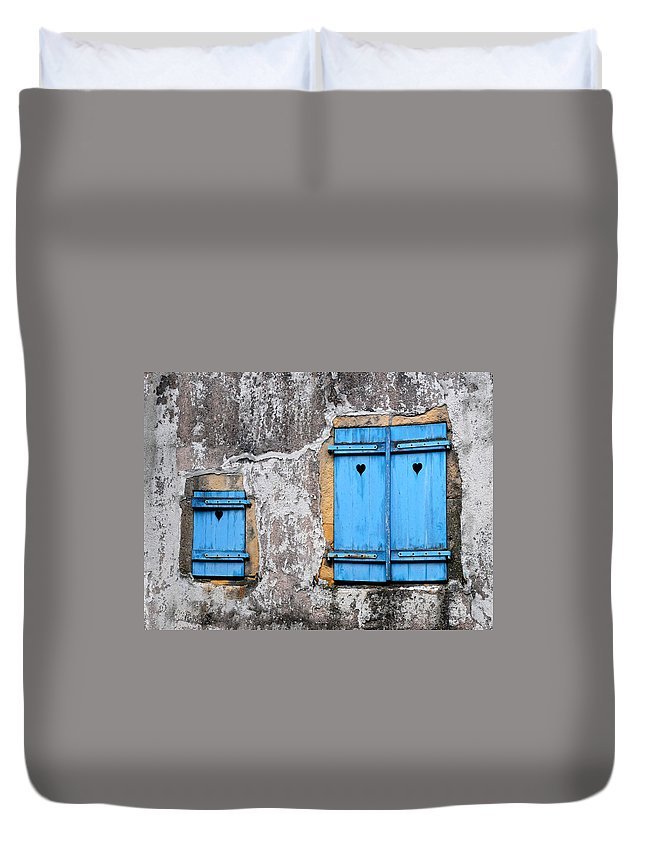 Shutters Duvet Cover featuring the photograph Old Blue Shutters by Dave Mills