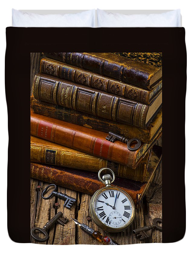 Key Duvet Cover featuring the photograph Old Books And Pocketwatch by Garry Gay