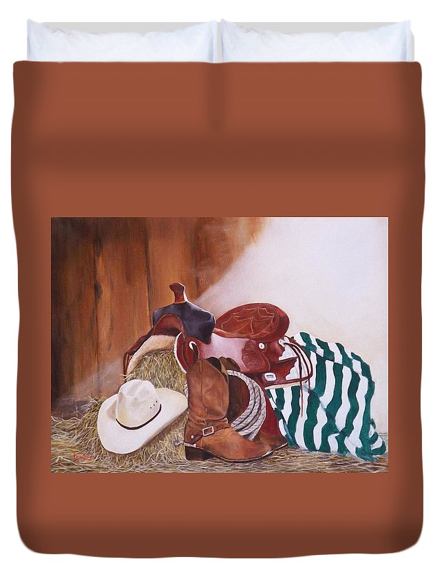 Saddle Duvet Cover featuring the painting Old Boots N' New Saddle by Barry BLAKE