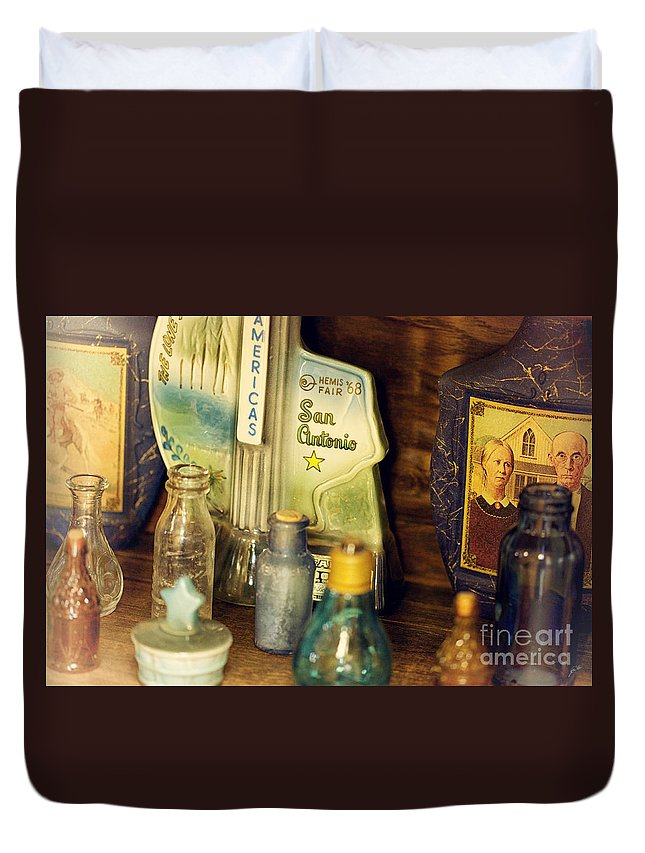 Bottles Duvet Cover featuring the photograph Old Bottles by Erika Weber