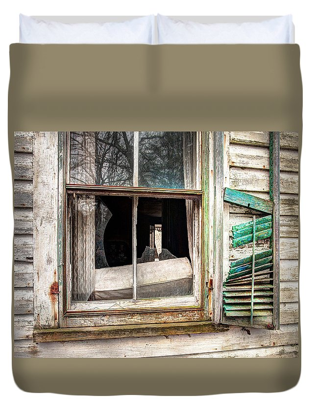 Old Broken Window And Shutter Of An Abandoned House Duvet Cover