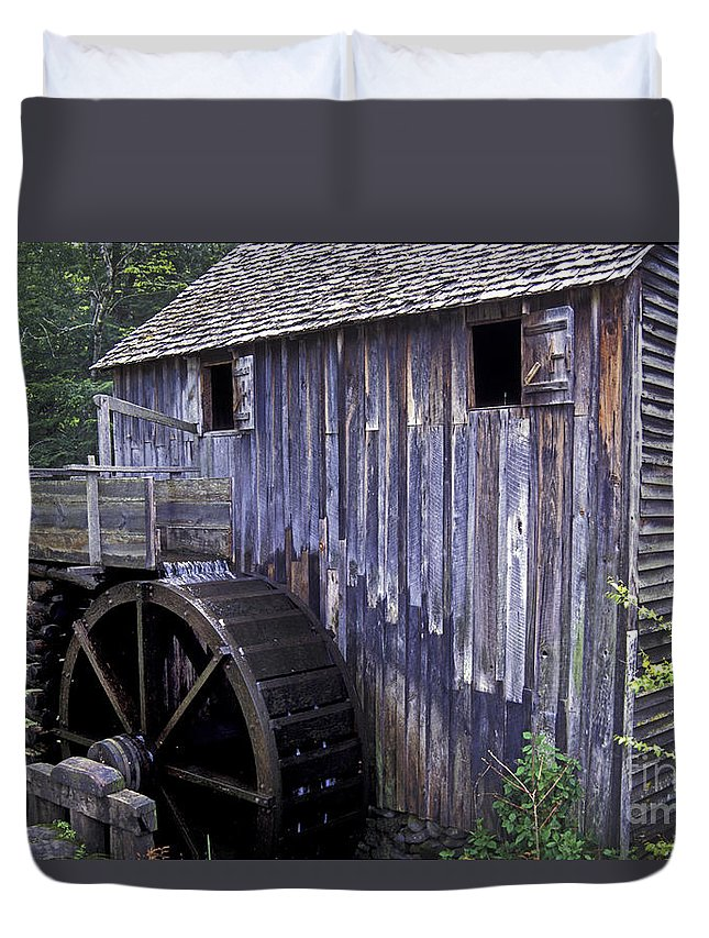Grist Mill Duvet Cover featuring the photograph Old Cades Cove Mill by Paul W Faust - Impressions of Light