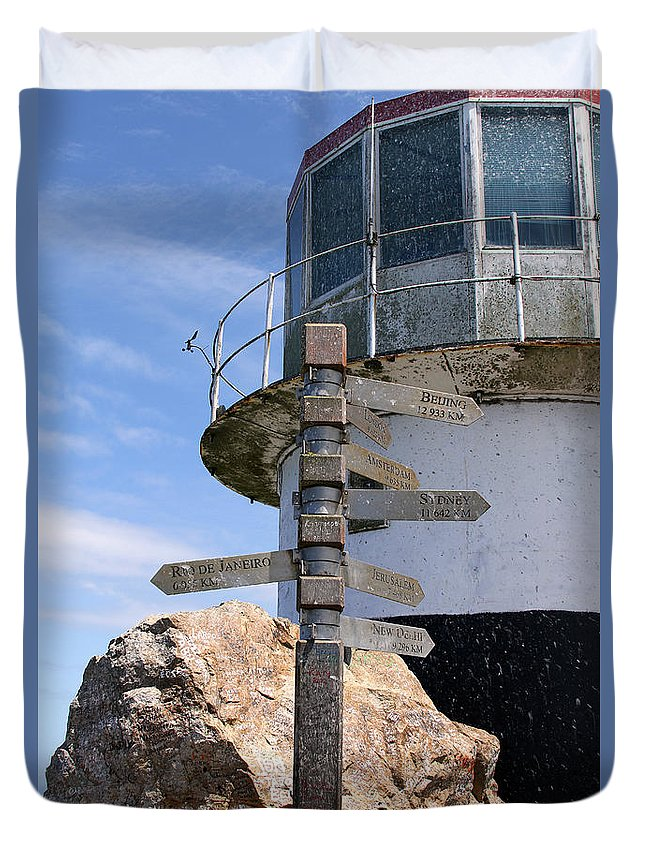 Cape Point Duvet Cover featuring the photograph Old Cape Point Lighthouse In South Africa by Catherine Sherman