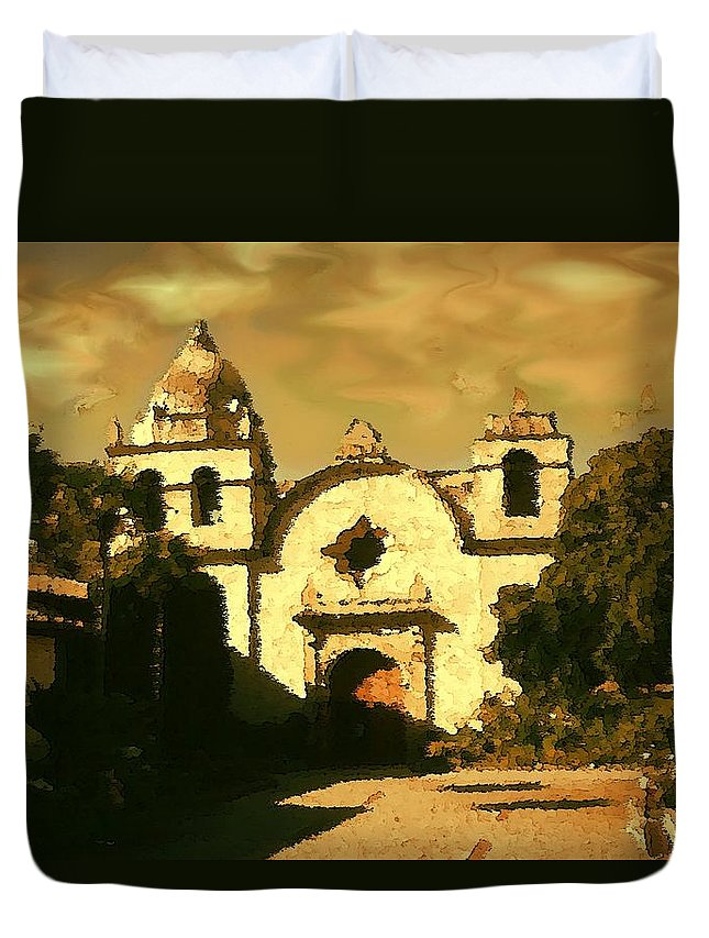 Carmel+mission Duvet Cover featuring the painting Old Carmel Mission - Watercolor by Peter Potter