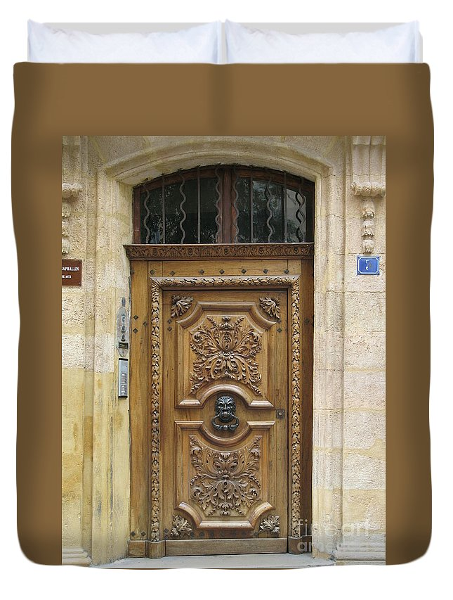 Door Duvet Cover featuring the photograph Old Carved Door by Christiane Schulze Art And Photography