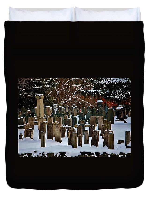 Cemetery Duvet Cover featuring the photograph Old Cemetery Lancaster Ma by Michael Saunders
