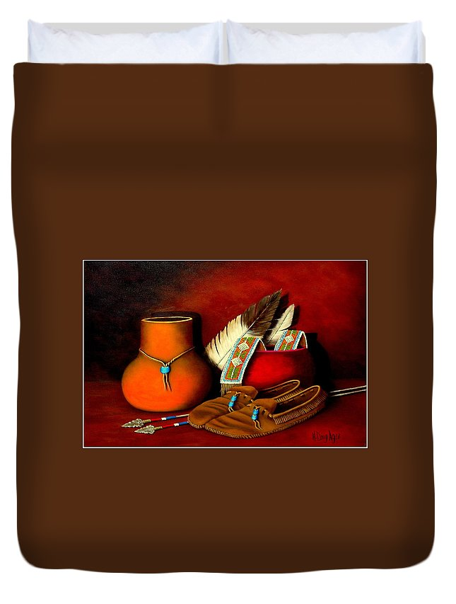 Native American Duvet Cover featuring the painting Old Cherokee Moccasins by H Doug Agee