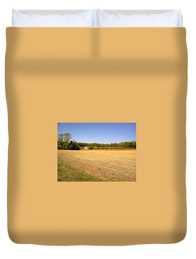 Old Chicken House Farm Field Duvet Cover featuring the photograph Old Chicken House On A Farm Field by Chris W Photography AKA Christian Wilson
