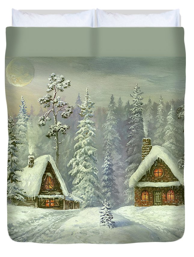Art Duvet Cover featuring the digital art Old Christmas Card by Pobytov