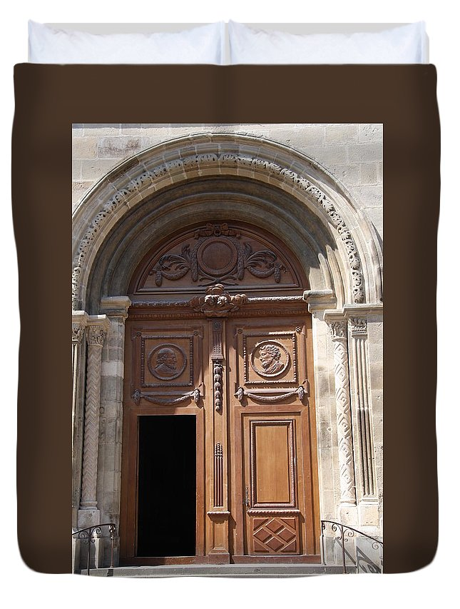 Door Duvet Cover featuring the photograph Old Church Door Cathedral Autun by Christiane Schulze Art And Photography
