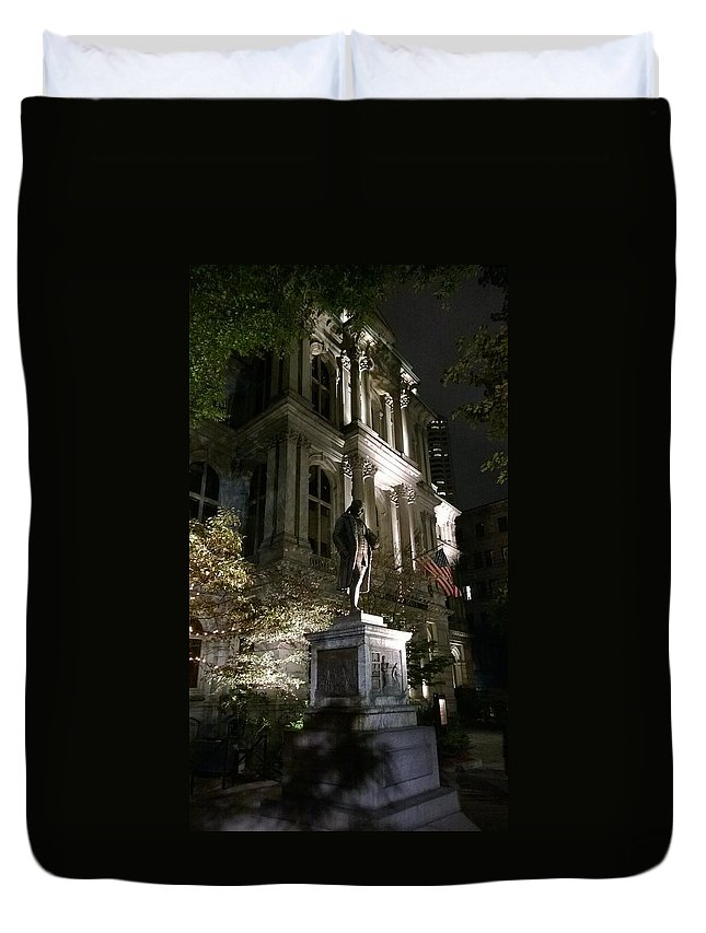 Boston Duvet Cover featuring the photograph Old City Hall by Mary Vinagro
