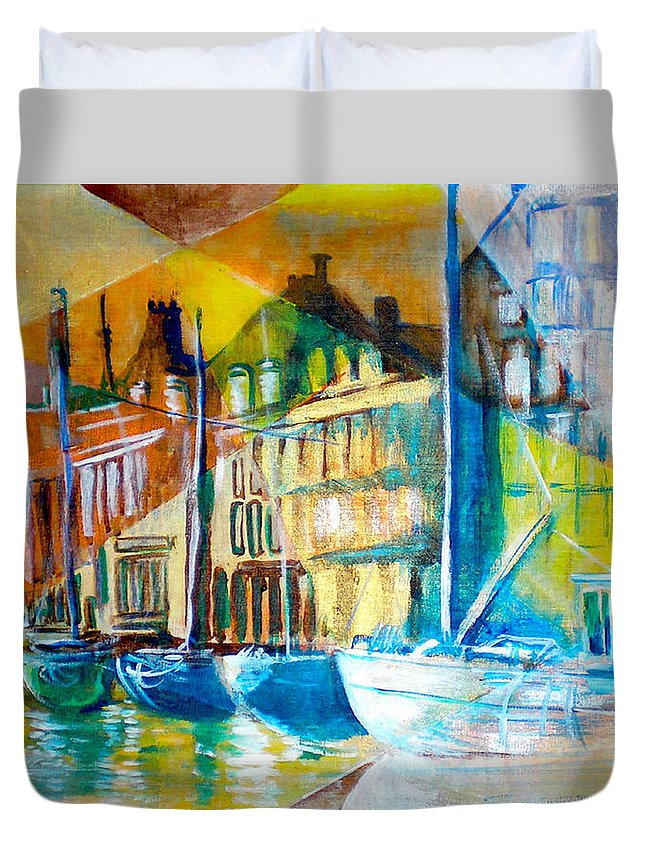 Old World Street Duvet Cover featuring the painting Old Copenhagen Thru Stained Glass by Seth Weaver