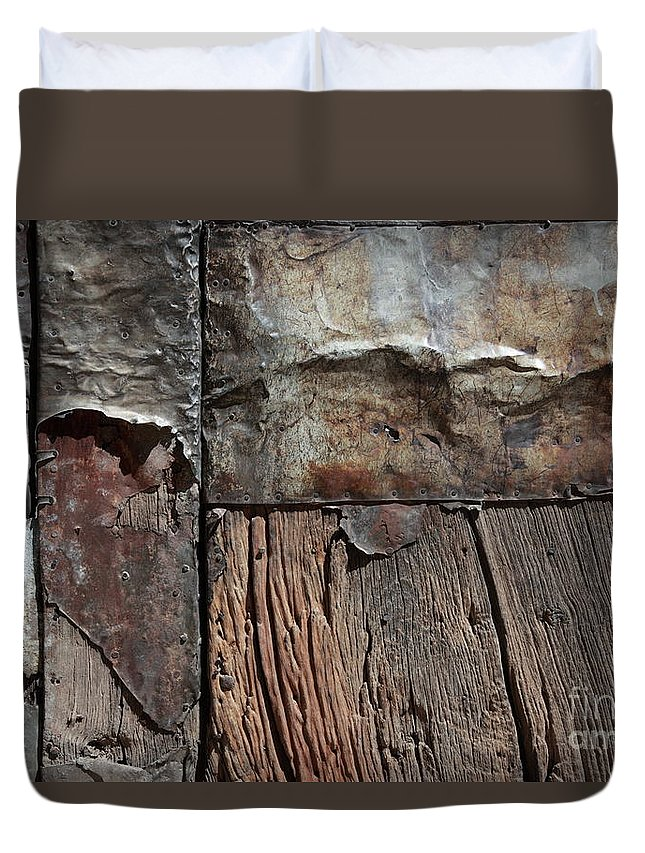 Door Duvet Cover featuring the photograph Old Door Textures by James Brunker