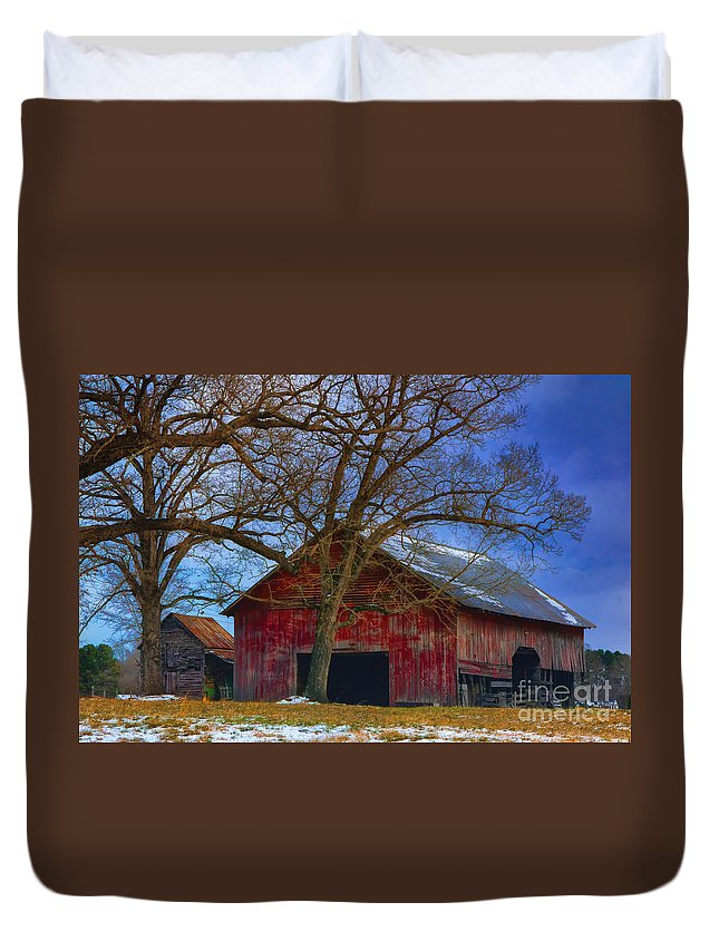 Old Duvet Cover featuring the photograph Old Farm by Scott Hervieux