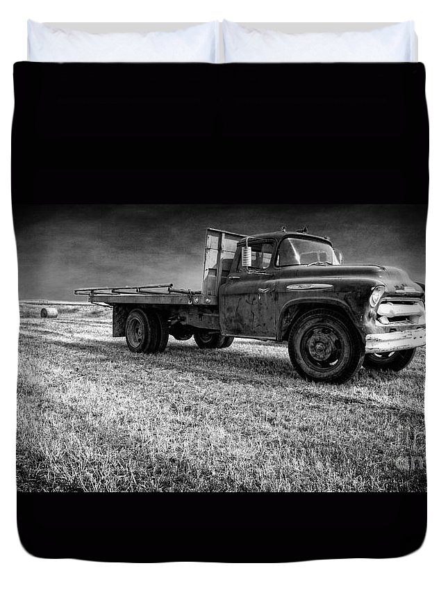 Truck Duvet Cover featuring the photograph Old Farm Truck Black And White by Edward Fielding