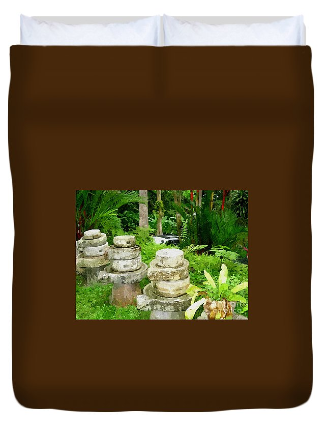 Add Duvet Cover featuring the painting Old Fashion Stone Bean Grinder by Jeelan Clark