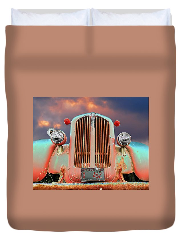 Truck Duvet Cover featuring the photograph Old Firefighter by Ron Day