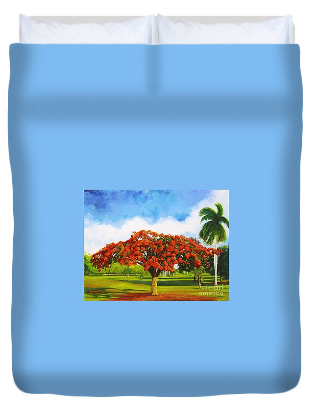 Cuba Art Duvet Cover featuring the painting Old Flamboyan by Jose Manuel Abraham