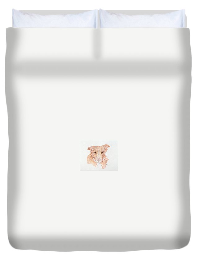 Dog Duvet Cover featuring the painting Old Friend Juno by Stephanie Grant