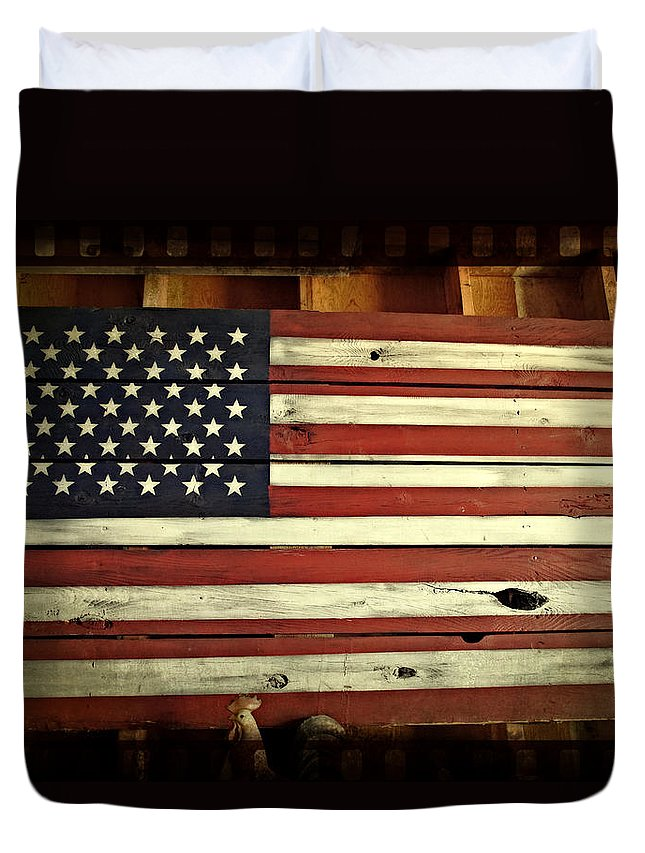 Old Glory Duvet Cover featuring the photograph Old Glory In Wood by Mick Anderson