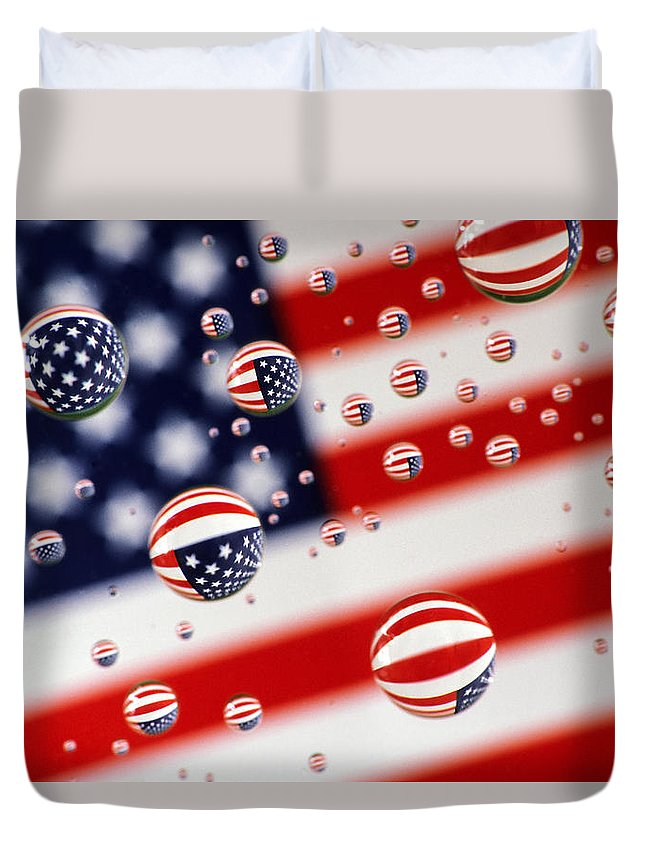 Flag Duvet Cover featuring the photograph Old Glory Water Drops by Jack Daulton