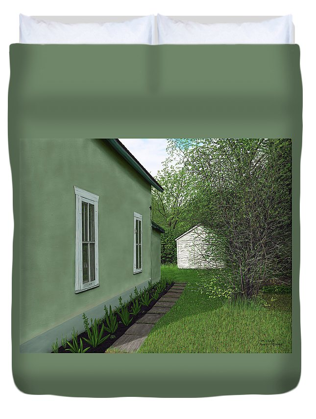 Old Duvet Cover featuring the painting Old Green House by Michelle Moroz-Chymy