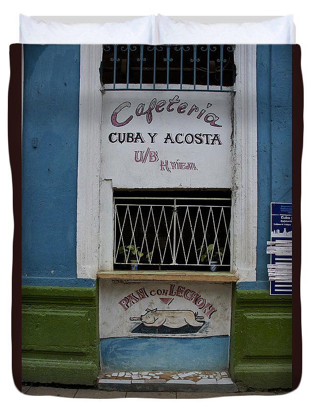 Havana Duvet Cover featuring the photograph Old Havana Cafeteria by Brian Kamprath