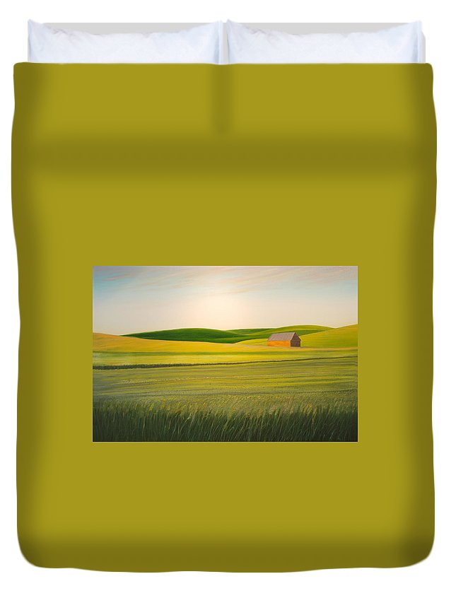 Wheat Duvet Cover featuring the painting Old Highway 95 by Leonard Heid