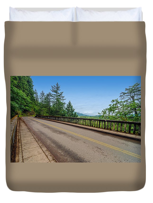 Nature Duvet Cover featuring the photograph Old Highway And Forest by Jess Kraft