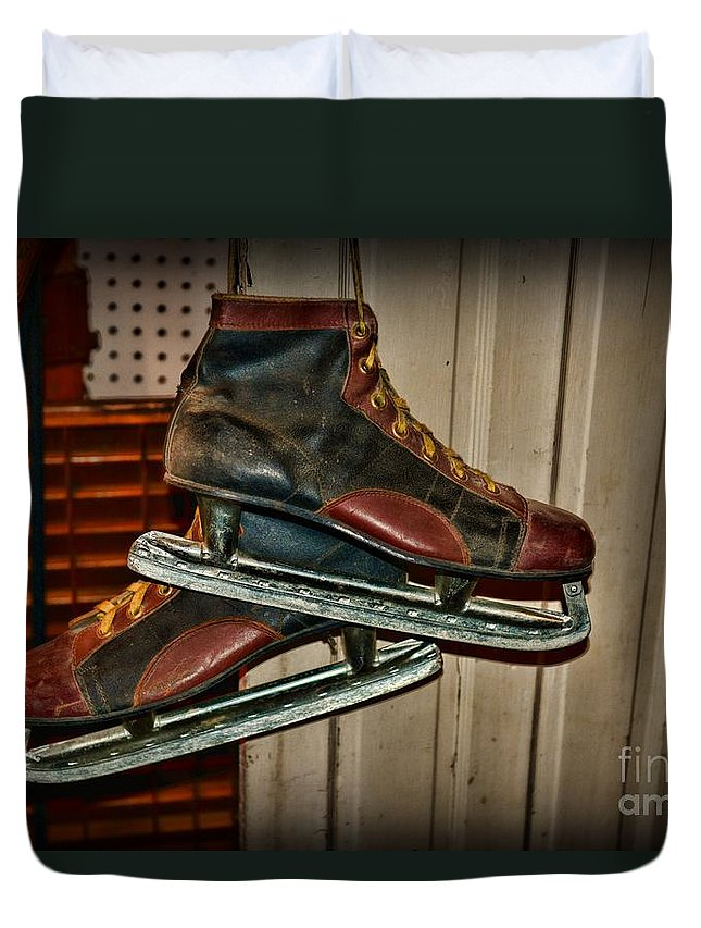 Paul Ward Duvet Cover featuring the photograph Old Hockey Skates by Paul Ward