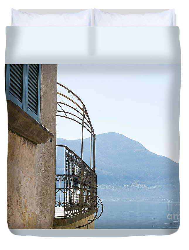 House Duvet Cover featuring the photograph Old House With Lake View by Mats Silvan