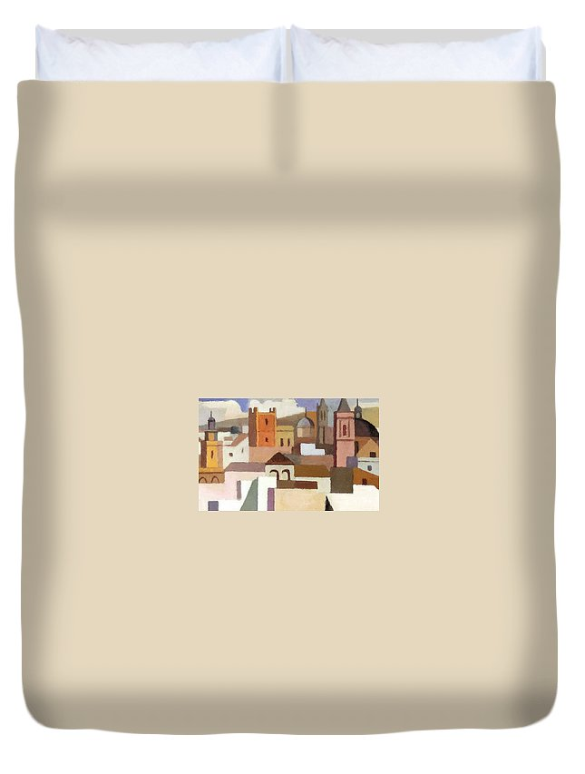 Painting Duvet Cover featuring the photograph Old Jerusalem by Munir Alawi